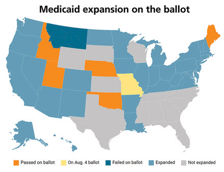 map of states that have expanded medicaid