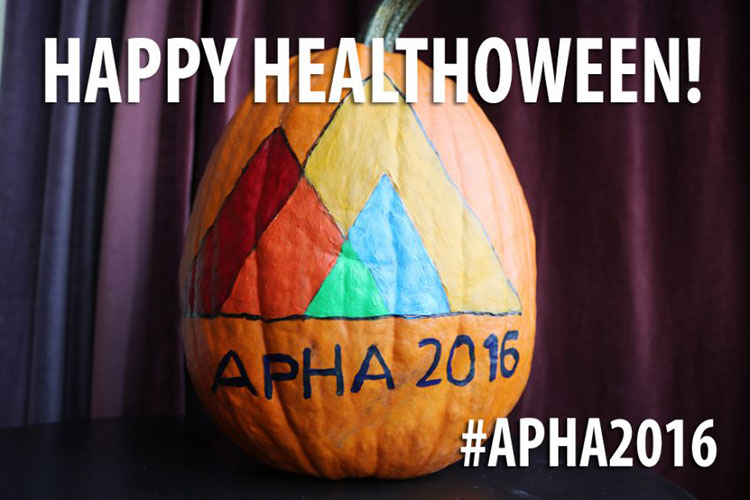 Pumpkin painted with APHA 2016 logo