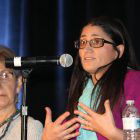 Mona Hanna-Attisha at microphone