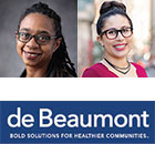 Angela Harris and Aysha Pamukcu and de Beaumont Foundation logo